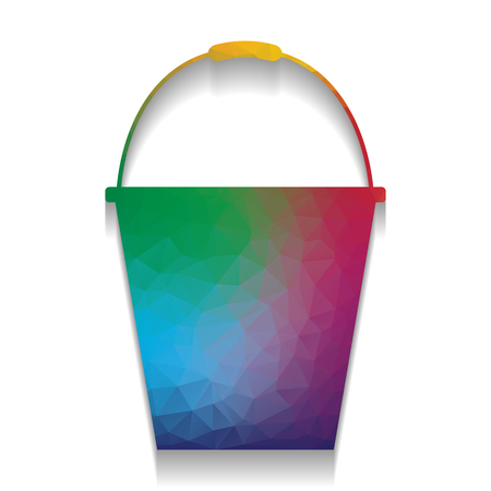 Bucket sign for garden. Vector. Colorful icon with bright texture of mosaic with soft shadow on white background. Isolated.