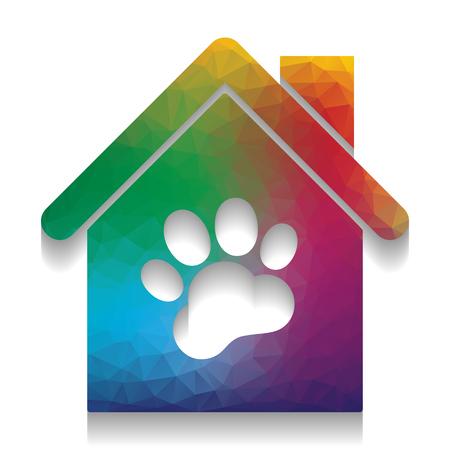 Tienda de mascotas, ilustración de signo de construcción de tienda. Vector. Icono colorido con textura brillante de mosaico con suave sombra sobre fondo blanco. Aislado. Ilustración de vector