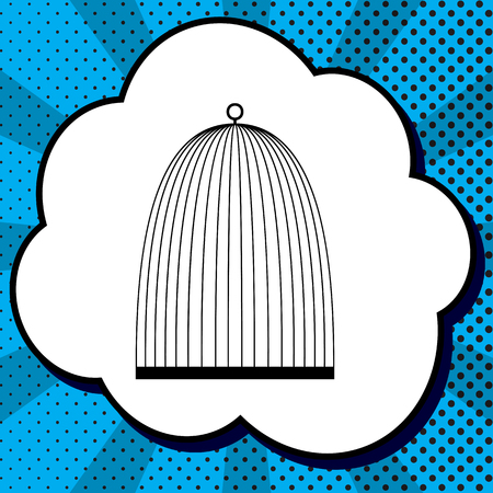 Bird cage sign. Vector. Black icon in bubble on blue pop-art background with rays.
