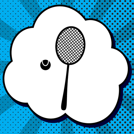 Tennis racquet with ball sign. Vector. Black icon in bubble on blue pop-art background with rays.