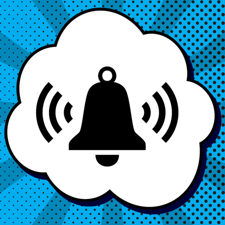 Ringing bell icon. Vector. Black icon in bubble on blue pop-art background with rays.