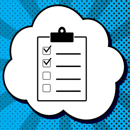 Checklist sign illustration. Vector. Black icon in bubble on blue pop-art background with rays. Illustration