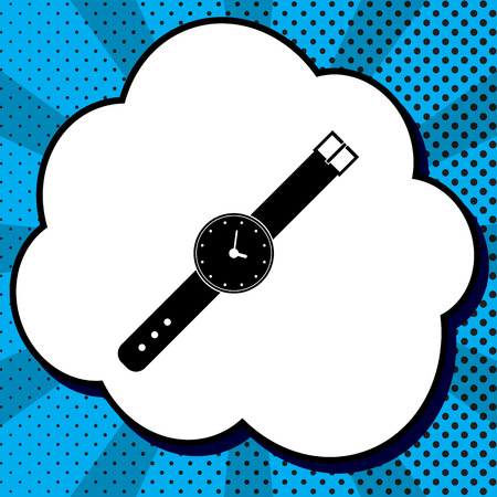 Watch sign illustration. Vector. Black icon in bubble on blue pop-art background with rays.