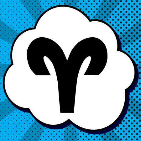Illustration de signe de Bélier. Vecteur. Icône noire en bulle sur fond bleu pop-art avec des rayons.