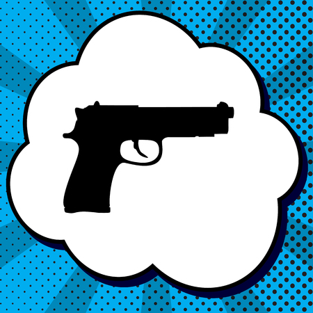 Gun sign illustration. Vector. Black icon in bubble on blue pop-art background with rays.
