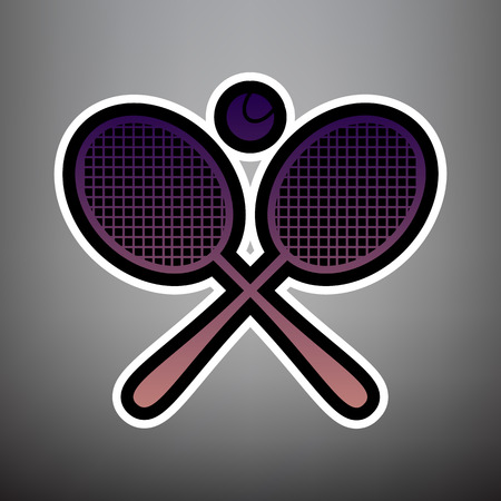 Two tennis racket with ball sign. Vector. Violet gradient icon with black and white linear edges at gray background.