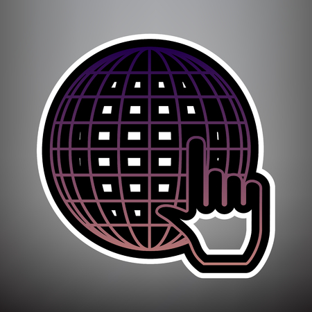 Earth Globe with cursor. Vector. Violet gradient icon with black and white linear edges at gray background.