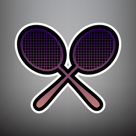 Two tennis racket sign. Vector. Violet gradient icon with black and white linear edges at gray background.