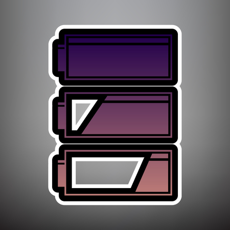 Set of battery charge level indicators. Vector. Violet gradient icon with black and white linear edges at gray background. Ilustração