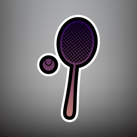 Tennis racquet with ball sign. Vector. Violet gradient icon with black and white linear edges at gray background.