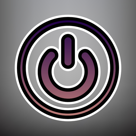 On Off switch sign. Vector. Violet gradient icon with black and white linear edges at gray background.