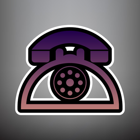 Retro telephone sign. Vector. Violet gradient icon with black and white linear edges at gray background.
