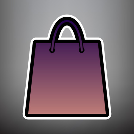 Shopping bag illustration. Vector. Violet gradient icon with black and white linear edges at gray background.