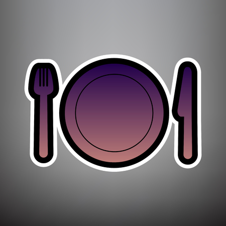 Fork, plate and knife. Vector. Violet gradient icon with black and white linear edges at gray background.
