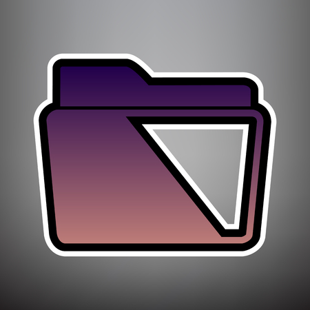 Folder sign illustration. Vector. Violet gradient icon with black and white linear edges at gray background.