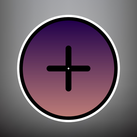 Positive symbol plus sign. Vector. Violet gradient icon with black and white linear edges at gray background.
