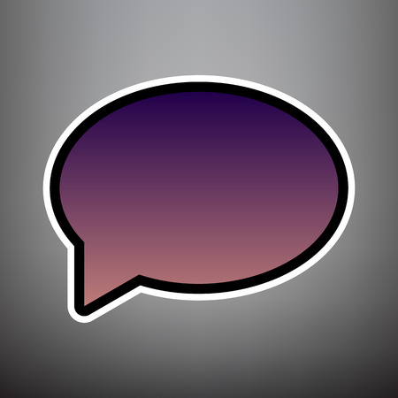 Speech bubble icon. Vector. Violet gradient icon with black and white linear edges at gray background.