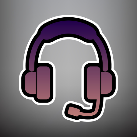 Support sign illustration. Vector. Violet gradient icon with black and white linear edges at gray background.