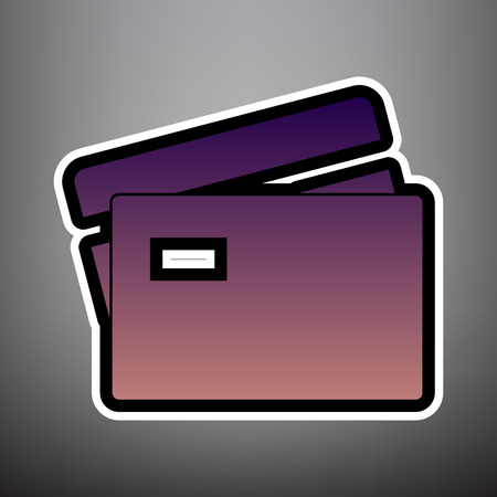 Credit Card sign. Vector. Violet gradient icon with black and white linear edges at gray background.