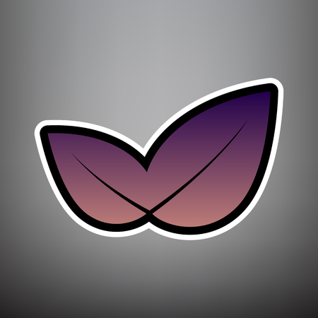 Leaf sign illustration. Vector. Violet gradient icon with black and white linear edges at gray background.