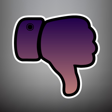 Hand sign illustration. Vector. Violet gradient icon with black and white linear edges at gray background. Ilustrace