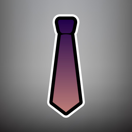 Tie sign illustration. Vector. Violet gradient icon with black and white linear edges at gray background. Illusztráció