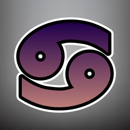 Illustration de signe de cancer. Vecteur. Icône de dégradé violet avec bords linéaires noirs et blancs sur fond gris. Vecteurs