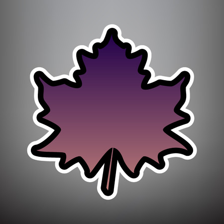Maple leaf sign. Vector. Violet gradient icon with black and white linear edges at gray background.