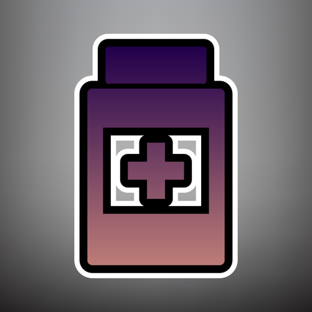 Medical container sign. Vector. Violet gradient icon with black and white linear edges at gray background. Vectores