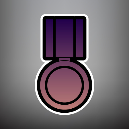 Medal sign illustration. Vector. Violet gradient icon with black and white linear edges at gray background.  イラスト・ベクター素材