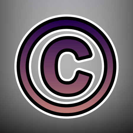 Copyright sign illustration. Vector. Violet gradient icon with black and white linear edges at gray background. Illustration