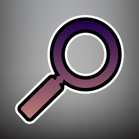 Zoom sign illustration. Vector. Violet gradient icon with black and white linear edges at gray background. Çizim