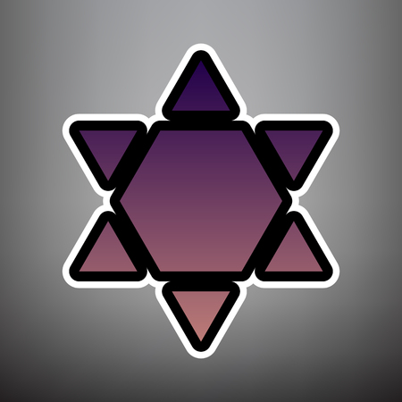 Shield Magen David Star Inverse. Symbol of Israel inverted. Vector. Violet gradient icon with black and white linear edges at gray background.