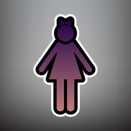 Girl sign illustration. Vector. Violet gradient icon with black and white linear edges at gray background. Illustration