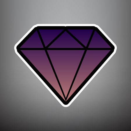 Diamond sign illustration. Vector. Violet gradient icon with black and white linear edges at gray background.