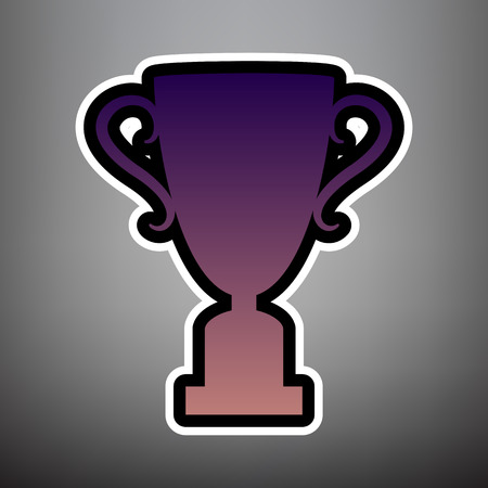 Champions Cup sign. Vector. Violet gradient icon with black and white linear edges at gray background.