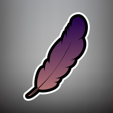 Feather sign illustration. Vector. Violet gradient icon with black and white linear edges at gray background.