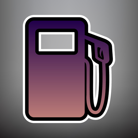 Gas pump sign. Vector. Violet gradient icon with black and white linear edges at gray background.