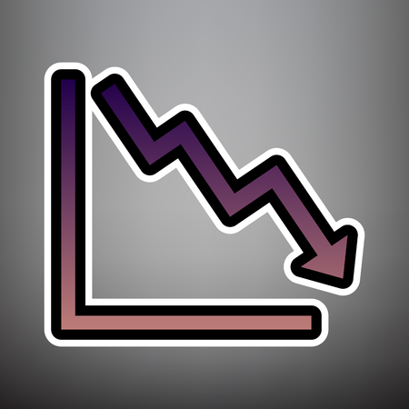 Arrow pointing downwards showing crisis. Vector. Violet gradient icon with black and white linear edges at gray background.