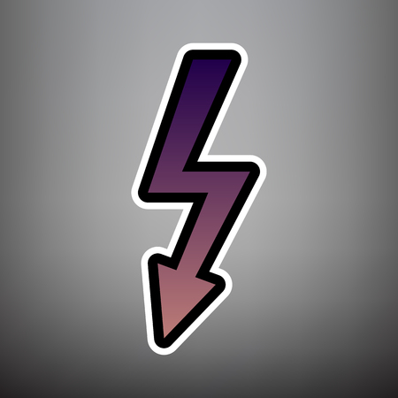 High voltage danger sign. Vector. Violet gradient icon with black and white linear edges at gray background.