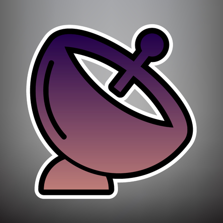 Satellite dish sign. Vector. Violet gradient icon with black and white linear edges at gray background. Illustration