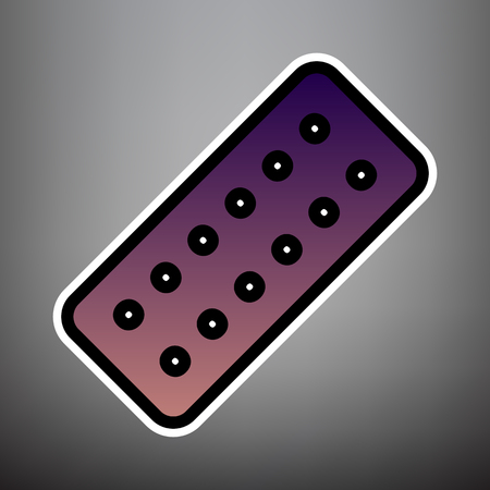 Medical Pills sign. Vector. Violet gradient icon with black and white linear edges at gray background. 일러스트