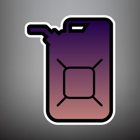 Jerrycan oil sign. Jerry can oil sign. Vector. Violet gradient icon with black and white linear edges at gray background.