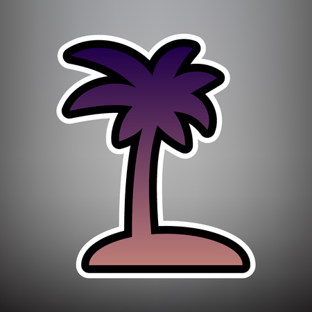 Coconut palm tree sign. Vector. Violet gradient icon with black and white linear edges at gray background. Ilustração