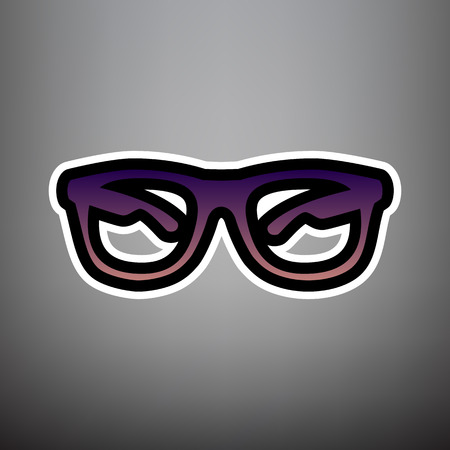 Sunglasses sign illustration. Vector. Violet gradient icon with black and white linear edges at gray background.