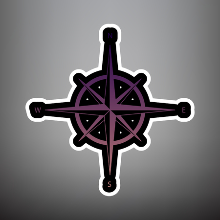 Wind rose sign. Vector. Violet gradient icon with black and white linear edges at gray background.