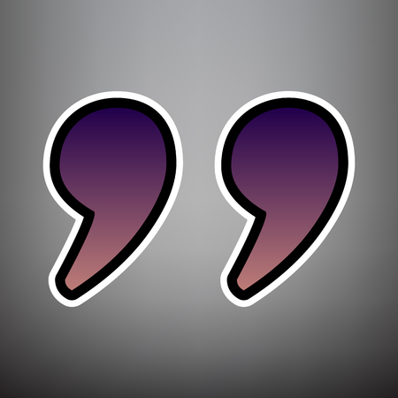 Quote sign illustration. Vector. Violet gradient icon with black and white linear edges at gray background. Illustration