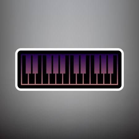 Piano Keyboard sign. Vector. Violet gradient icon with black and white linear edges at gray background. Vector Illustration