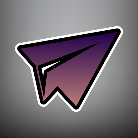 Paper airplane sign. Vector. Violet gradient icon with black and white linear edges at gray background.
