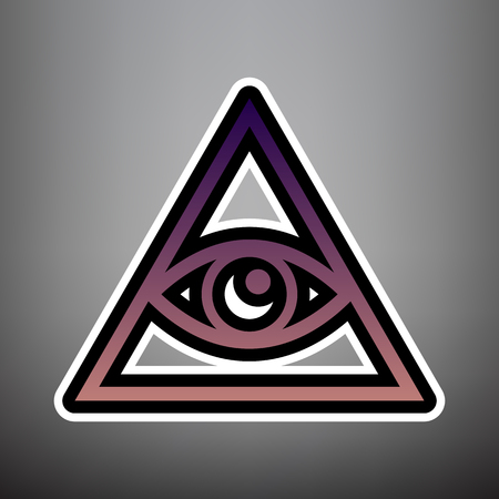 All seeing eye pyramid symbol. Freemason and spiritual. Vector. Violet gradient icon with black and white linear edges at gray background.